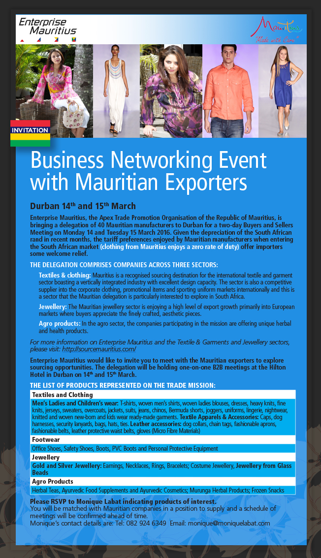 Business Networking Event with Mauritian Exporters