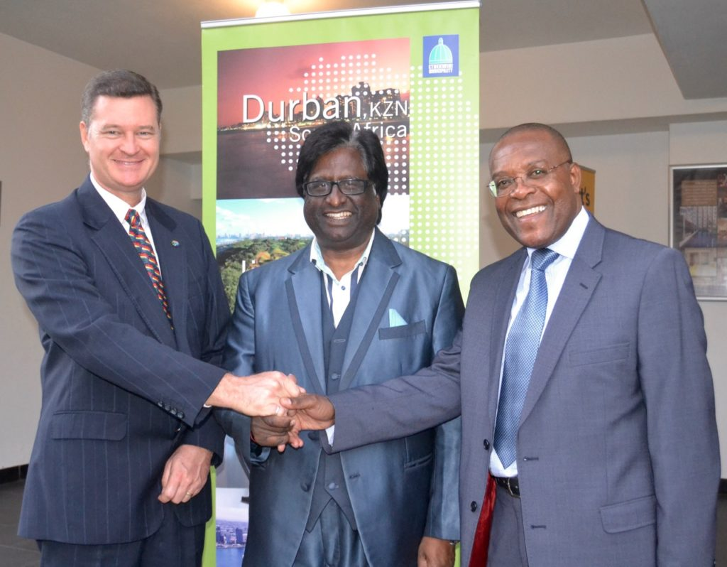 Seen at the Launch of the Business Retention and Expansion programme in New Germany, Russell Curtis, HOD of Durban Investment Promotion, Cllr Logie Naidoo, Speaker of the eThekwini Municipality and Zeph Ndlovu, President of the Durban Chamber of Commerce and Industry.